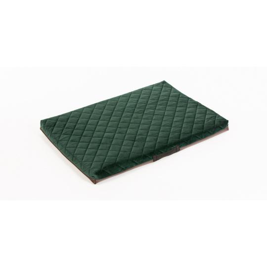 Pohodlná matrace prošívaný velur zelená materiál/ spodek hnědá ekokůže 3XL 100x67cm 10cm vysoká